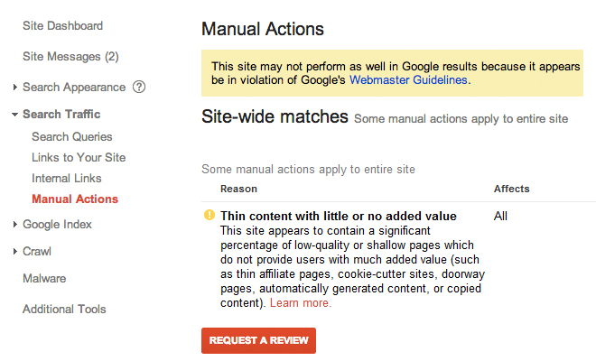 Google Manual Action Penalty Thin Content