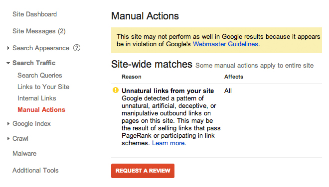 Google Manual Action Penalty Unnatural Links