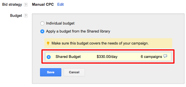 Google Ad Grants Shared Budget